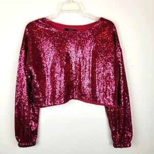 Forever 21 Burgundy Sequin Crop Top